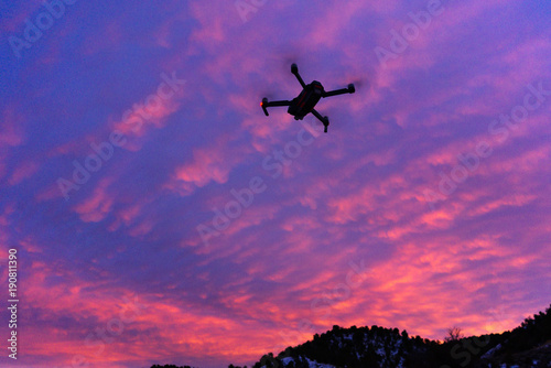 Staande foto Snoeien Drone Privacy Silhouette with Sky