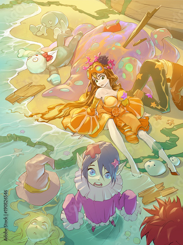 Fantasy anime cartoon illustration of some funny characters in colorful costumes sitting on a sunny sea beach  - 190826546