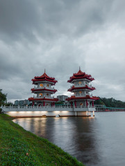 Twin pagoda light up at night at Chinese Garden Singapore.