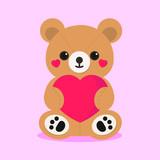 Cute Stuffed Teddy Bear Holding a Heart (Valentine's Day)