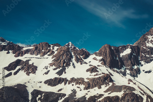 Fotobehang Groen blauw Winter Landscape of Snow Mountain Range