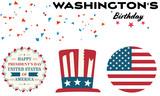Set of three logos for Washington's birthday celebrate - 190838548