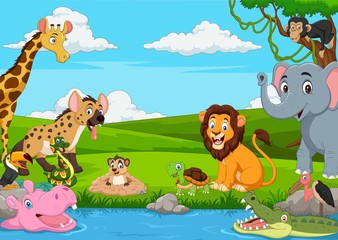 Cartoon African landscape with wild animals
