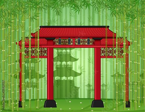 Foto op Canvas Pistache Entrance door in bamboo forest