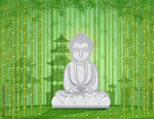 Foto op Canvas Pistache Buddha statue in bamboo forest