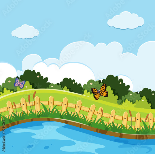 Poster Pool Nature scene with butterflies in the park