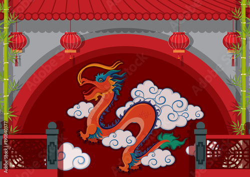 Dragon painted on wall