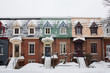 Typical row houses in Plateau Mont-Royal neighborhood in Montreal, Quebec, Canada during winter