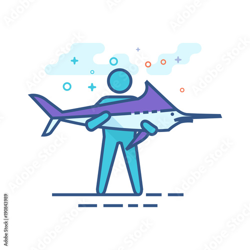 Man holding fish icon in outlined flat color style. Vector illustration.