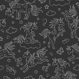 Seamless pattern with funny cartoon unicorns, hearts and stars contour white icons on dark background
