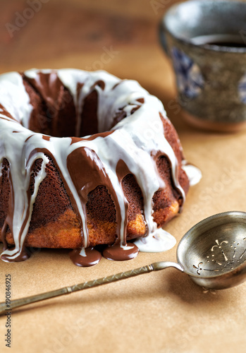 Marble up side down cake with glaze