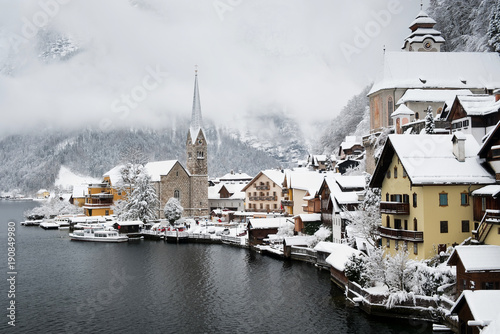 Hallstat village in the Austria. Beautiful village in the mountain valley near lake