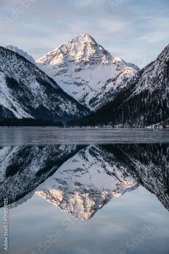 Reflection mountain peak in the lake. Beautiful natural landscape in the Germany