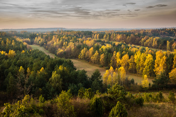 Autumn landscape near castle in Mirow on the Jura Krakowsko-Czestochowska, Poland