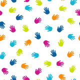 Hand prints colorful seamless patern. Vector background. - 190854136