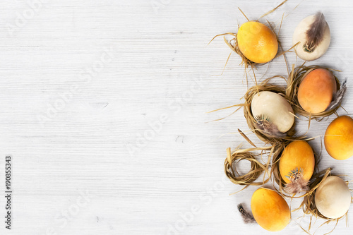 Background with yellow Easter eggs in the small nests