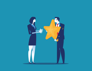 Outstanding Employee Award. Concept business vector illustration. Flat style design.