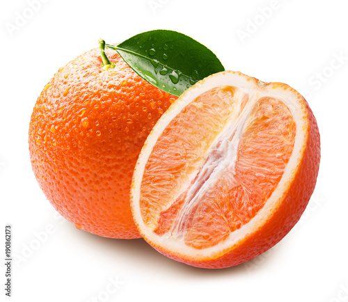 oranges with water drops isolated on a white background