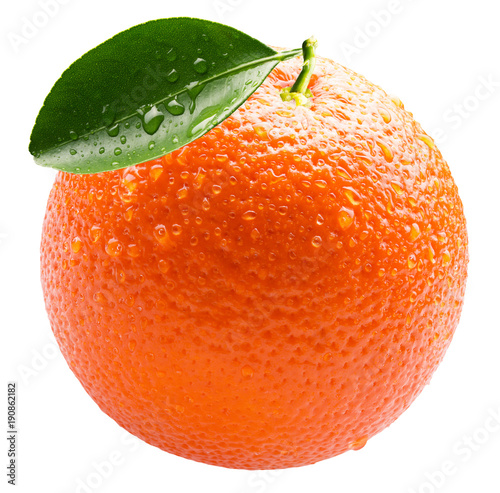 orange with water drops isolated on a white background