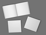 Square booklets, brochures blank open pages and covers mock up illustration. - 190862550