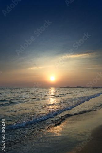 Fotobehang Strand sunset summer on the beach in Thailand