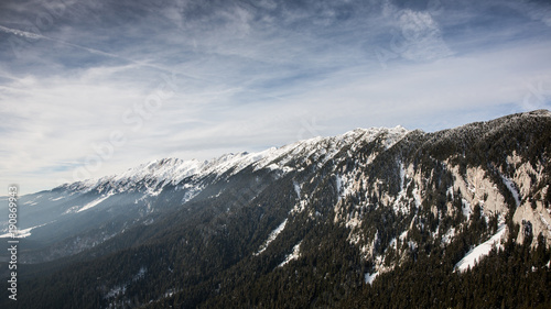 Fotobehang Lente Winter landscapes over the Carpathian mountains peaks