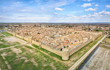 Aerial view of Aigues-Mortes medieval fortified town, Occitanie, France