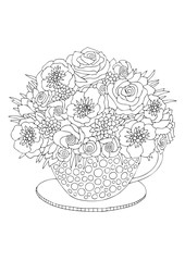 Hand drawn bouquet. Sketch for anti-stress adult coloring book in zen-tangle style. Vector illustration for coloring page, isolated on white background.