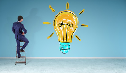 Businessman watching lightbulb sketch on a wall 3D rendering