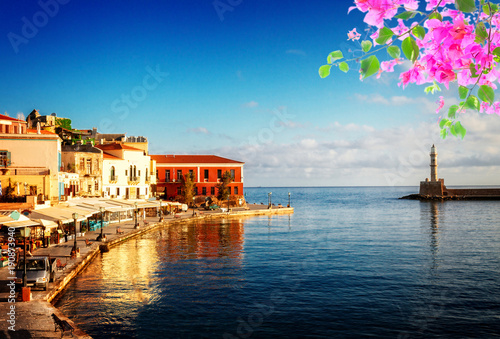 Foto Murales venetian habour of Chania, Crete, Greece