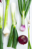 spring and spanish onions on white wood table background - 190875134