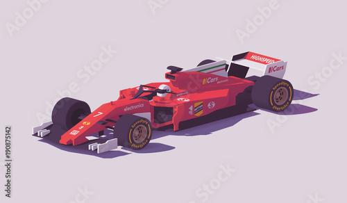 Fotobehang F1 Vector low poly formula racing car