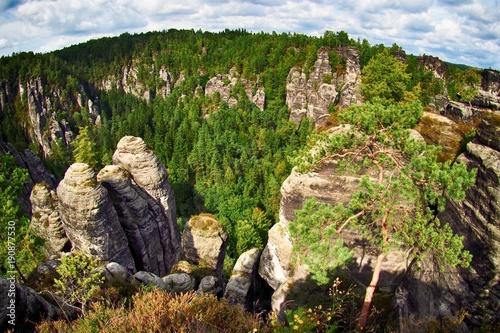 Aluminium Grijze traf. mountain, landscape, nature, rock, sky, forest