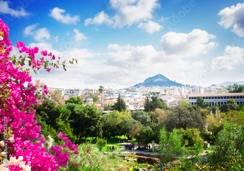 Deurstickers Athene Cityscape of Athens with Lycabettus Hill
