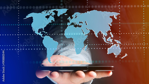 Foto Murales Connected world map on a uniform background