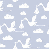 Seamless pattern with storks carrying babies. Suitable for wallpaper, wrapping or textile