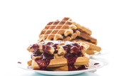 delicious sweet waffles with jam - 190884963