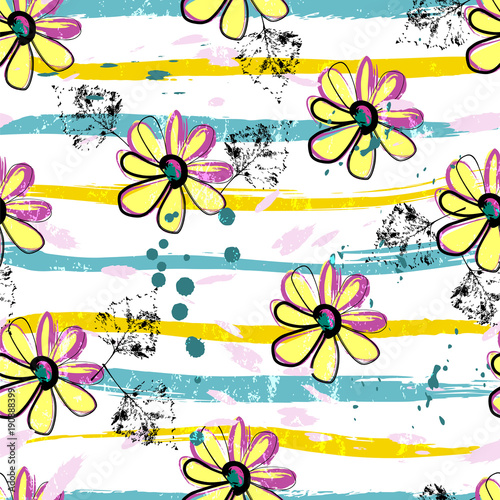 Fotobehang Abstract met Penseelstreken seamless springtime flower pattern background, with strokes and splashes, vector