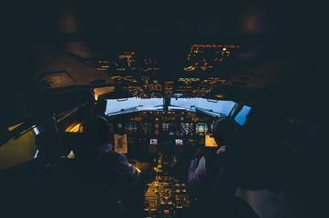 Interior view of plane cabin..
