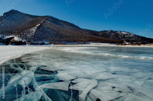 Foto op Aluminium Donkergrijs Russia. The unique beauty of transparent ice of lake Baikal.