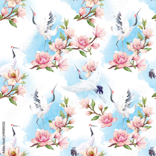 Fototapeta Watercolor crane vector pattern