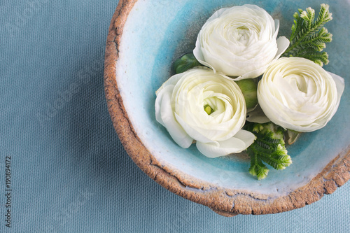 White flowers in blue bowl of water, spa,banner. Top view