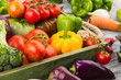 Set of different fresh raw vegetables in the wooden tray, light background - 190895324