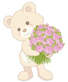 Cute Little Teddy Bear Holding a Bouquet of Pink Roses Vintage Style Valentines Day Card Illustration