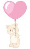 Cute Little Teddy Bear Holding Heart Shaped Balloon Vintage Style Illustration