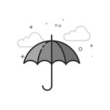Umbrella icon in flat outlined grayscale style. Vector illustration. - 190896595
