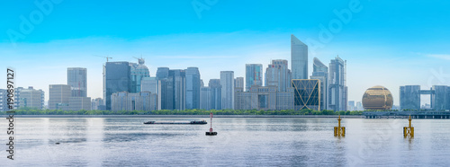 Foto op Aluminium Blauw Skyline of urban architectural landscape in Hangzhou