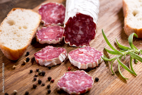 salami on a wooden board