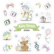 Set of Baby shower stickers. Isolated on a white background drawn by hand. - 190900329