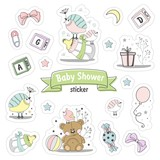 Set of Baby shower stickers. Isolated on a white background drawn by hand.